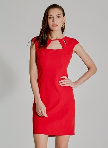 People By Fabrika Pencere Detaylı Elbise Kırmızı